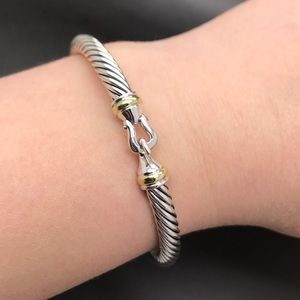 DY Silver and Gold 5mm Buckle Bracelet